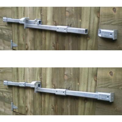 Crookstoppers double door shed door lock top open, bottom closed.