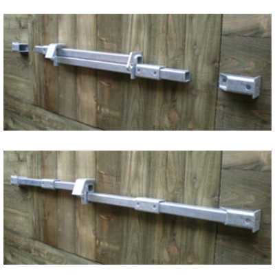Crookstoppers shed door lock for single doors top open, bottom closed.